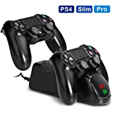 PS4 Dual USB Controller Charger KINGTOP PlayStation 4 Charging Dock Station with LED Indicator for Sony Playstation 4 PS4 / PS4 Pro / PS4 Slim Controller