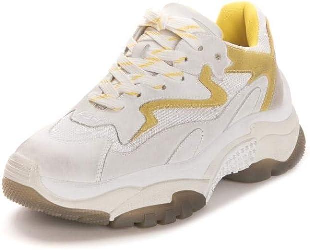 Ash Addict Zapatillas de Deporte de Cuero Amarillo Desgastado y Malla: Amazon.es: Zapatos y complementos