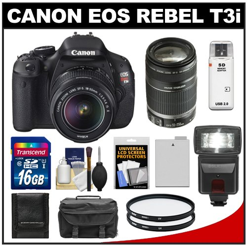 Canon EOS Rebel T3i 18.0 MP Digital SLR Camera Body and EF-S 18-55mm IS II Lens with 55-250mm IS Lens + 16GB Card + Battery + Case + (2) Filters + Flash + Cleaning Kit, Best Gadgets