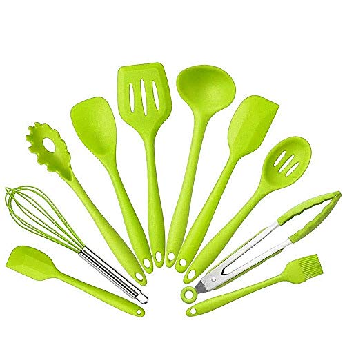 10Pcs/set Silicone Heat Resistant Kitchen Cooking Utensils Non-Stick Baking Tool tongs ladle gadget by BonBon (Green) (Ladle Green)