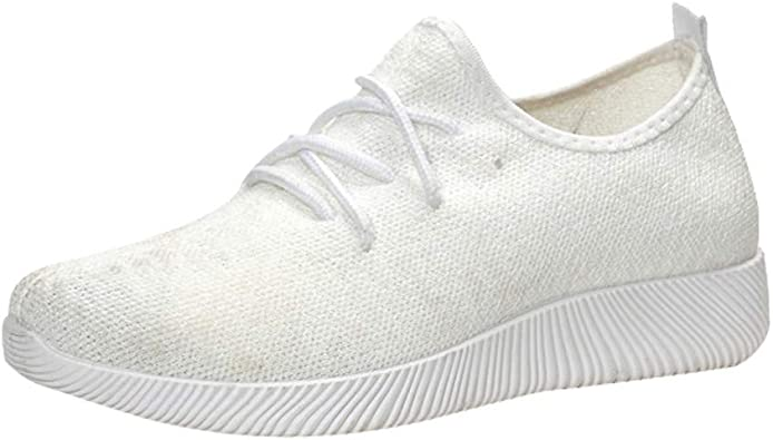 Womens Ladies Lace Up Mesh Knit Trainers Sneakers Slip On Plimsole Sports Shoes