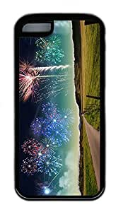 LJF phone case iphone 4/4s Case Unique Cool iphone 4/4s TPU Black Cases New Years New Zeland Fireworks Design Your Own iphone 4/4s Case