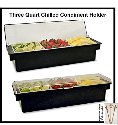 Ice Cooled Condiment Holder 3 QUART Compartments BLACK / Chilled Dispenser w/Signature Cocktail Picks