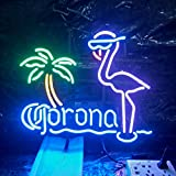 Mirsne neon Signs, Glass Tube neon Lights, 17'' by 14'' inch Corona Flamingo neon Signs bar, The Best neon Sign Custom Supplied for a Wide Range of Personal uses.