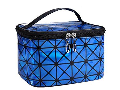 XDXDWEWERT Trousse de Maquillage Laser Sac cosmétique Sac de Rangement Sac Maquillage Sac Pochette pour Les Femmes (Bleu)