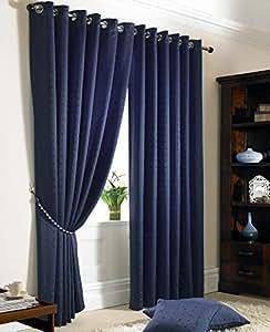 "Heavy Jacquard Eyelet Ready Made Curtain Ring Top Lined Curtains Navy ( Dark Blue ) Curtain Pair 66""X72"""