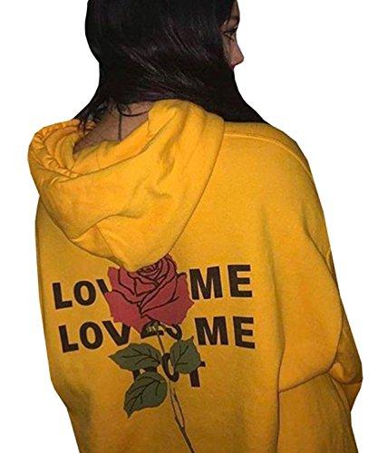 Dellytop Long Sleeve Pullover Hoodies Sweatshirts Coats with Pocket Printed Rose, Yellow, Medium