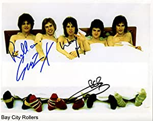 Bay City Rollers firmé 20,32 cm x 25,4 cm + certificado de autentificación foto 100% ikase