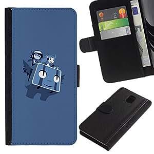 // PHONE CASE GIFT // Moda Estuche Funda de Cuero Billetera Tarjeta de crédito dinero bolsa Cubierta de proteccion Caso Samsung Galaxy Note 3 III / Flying P0Kemon Characters /