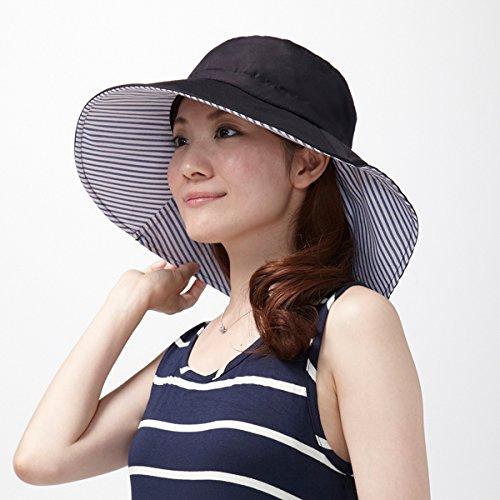 りぼんde調節UVカットつば広帽子