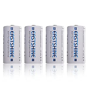 16340 Battery, EASTSHINE E07 700mAh RCR123A 3.7V Li-ion Rechargeable CR123A 4Packs for Arlo Flashlight