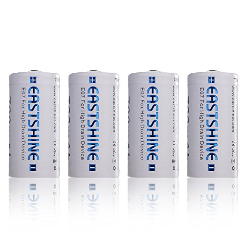 EASTSHINE 16340 Battery, E07 700mAh RCR123A 3.7V Li-ion Rechargeable CR123A 4Packs for Arlo Flashlight