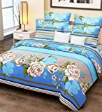 Home Candy 144 TC 100% Cotton Blue Stripes and Flowers Double Bed Sheet with 2 Pillow Covers