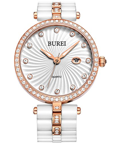 BUREI Women's Elegant Analog Quartz Wrist Watches Diamond Bezel with Ceramic Bracelet (Rose ()
