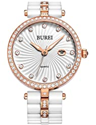 BUREI Womens Elegant Analog Quartz Wrist Watches Diamond Bezel with Ceramic Bracelet (Rose gold)