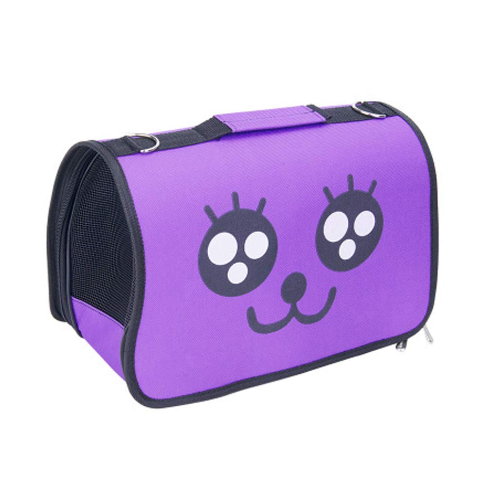 Purple Pet Carriers Dog Sling Bag Portable Puppy Bag Cartoon Expression Breathable