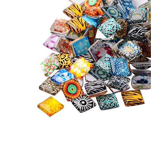 arricraft 200pcs Mosaic Printed Glass Cabochons 10mm Glass Square Flat Cabochon Beads for Crafting DIY Jewelry Making
