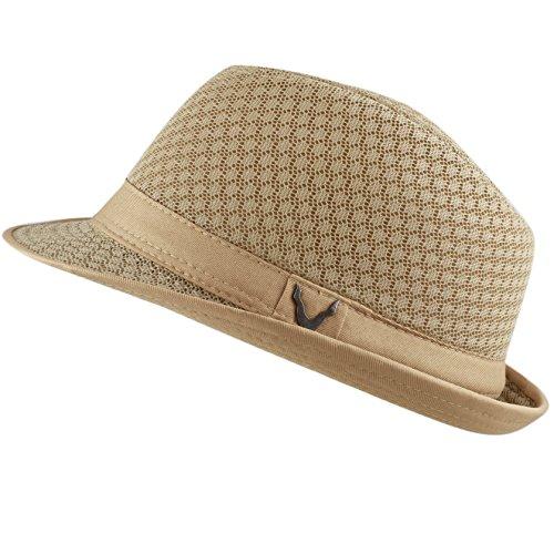 THE HAT DEPOT 200G1015 Classic Cool Soft Mesh Fedora hat (L/XL, Khaki)