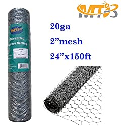 "Galvanized Hexagonal Poultry Netting,Chicken Wire 24""x150'- 2"" 20GA (also sold in 25' / 50' length)"