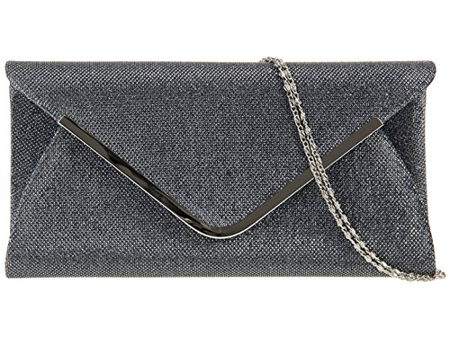 Ladies Girly Shoulder Women Bag Events Grey Chain Elegant Metallic Woven Clutch HandBags Evening O6Oarvq