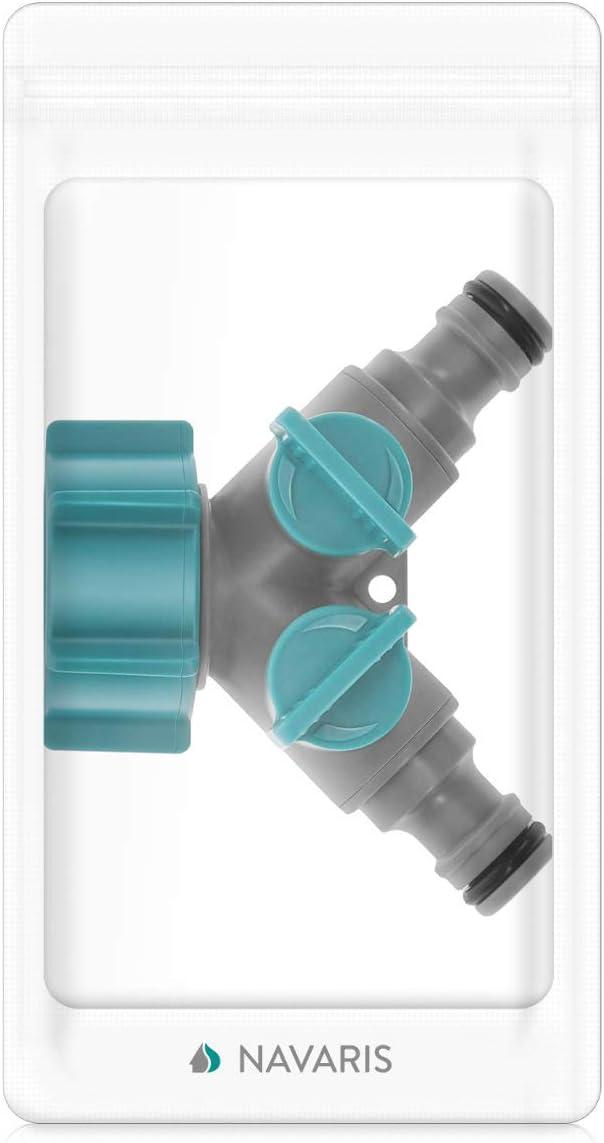 Navaris Conector de Manguera con 2 v/ías Independientes Adaptador en Forma de Y con Rosca Accesorio Separador de Grifo de Agua Divisor est/ándar