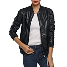 ACEVOG Women's Quilted Biker Bomber Zipper Faux Leather Moto Coat Jacket