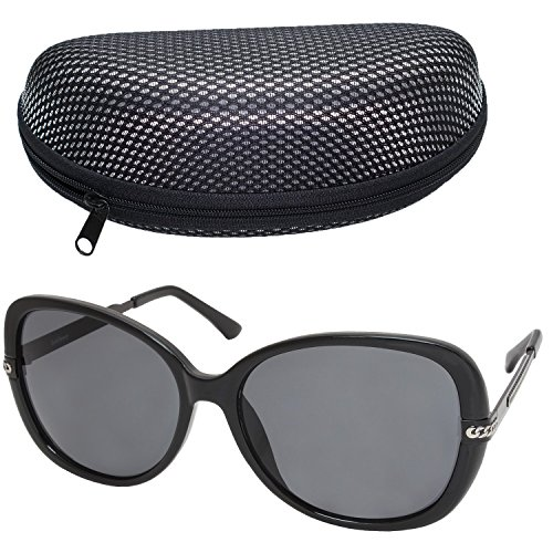 Oversized Sunglasses for Women, Grey Lens, Black Frame, Sunglasses Case Included, FDA - Sunglasses Fda