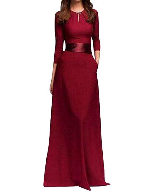 Anyu Vestidos De Fiesta Largos Elegantes Vestidos Ceremonia Manga Larga Maxi Vestido Vino Rojo S