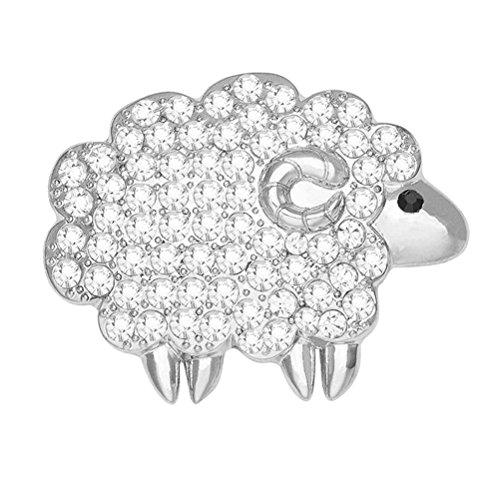 FENICAL Crystal Sheep Shaped Lapel Pin Animal Brooch Pins Dazzling Jewelry Pins for Women Girls (Silver)