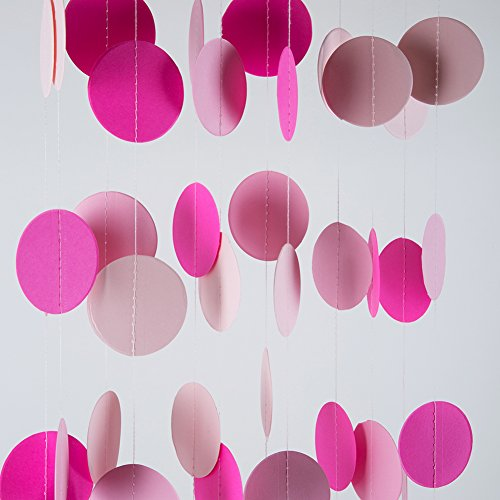 MOWO Hot Pink Paper Garland Circle Dots Hanging Happy Birthday Baby Shower Wedding Party Decoration, 2.5 inch, 26 feet in Total