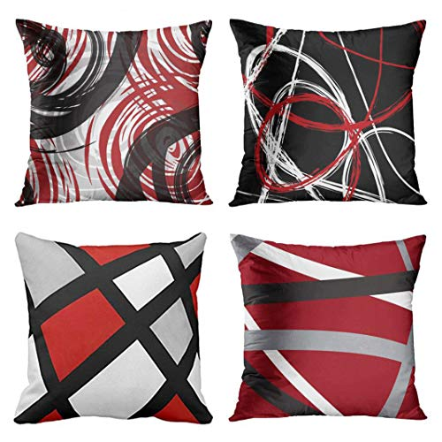 Emvency Set of 4 Throw Pillow Covers Red and Black White Gray Pattern Retro Abstract Stripes Spiral Decorative Pillow Cases Home Decor Square 18x18 Inches (Red Stripe Pillowcase Set)