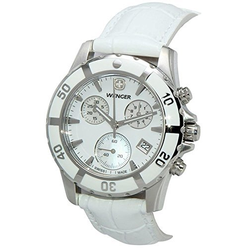 LADIES 36MM WENGER 70748 WHITE MOP DIAL CERAMIC BEZEL CHRONOGRAPH WATCH by Wenger