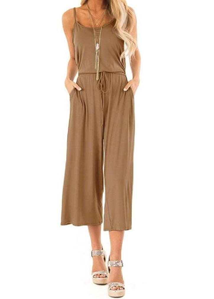 Abetteric Women Wide Leg Pants Casual Leisure Strappy Jumpsuits Rompers