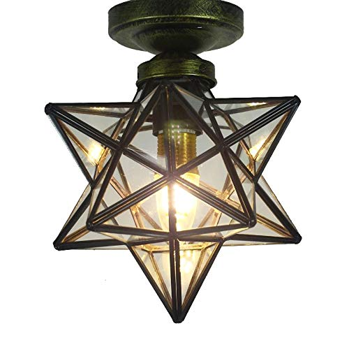 Clear Glass Star Flush Mount Moravian 8'' Star Ceiling Light Shade with E26 Bulb Close To Ceiling Light Fixtures for Indoor Restaurant Cafe Loft Bar Living Study Room Corridor Aisle (20cm) (Star Light Fixture Shaped Ceiling)