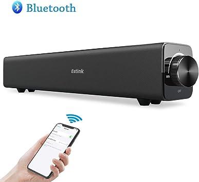 Barra de Sonido Bluetooth, Estink 20W Altavoz de Inalámbric Estéreo con Entrada AUX para PC, Laptop, Smartphones, Tablets, MP3 y TV(Negro): Amazon.es: Electrónica