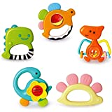 Yiosion Baby Rattles Sets Teether, Shaker, Grab and Spin Rattle, Musical Toy Set, Early Educational Toys Gift for 3, 6, 9, 12 Month Baby Infant, Newborn