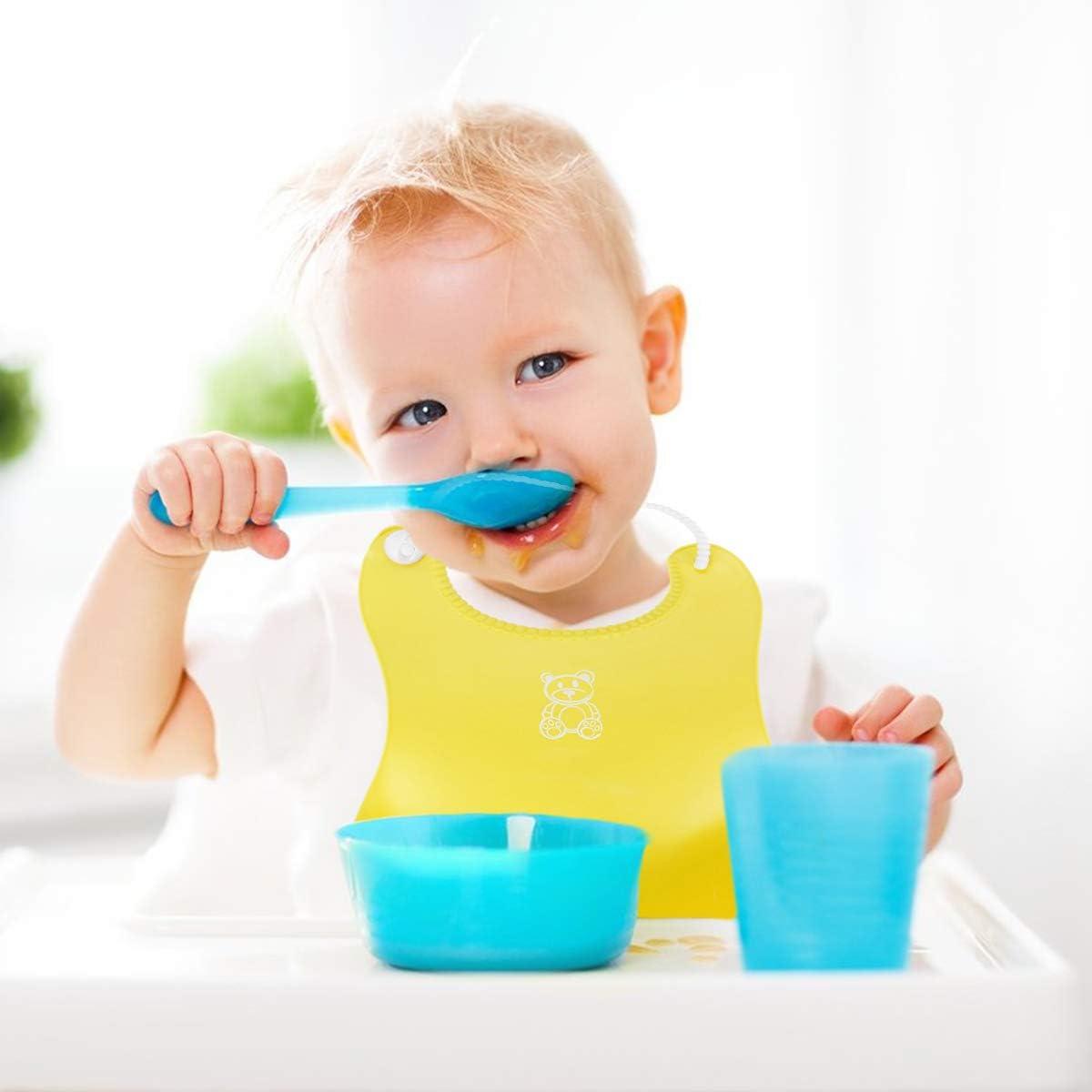 Babero Impermeable Beb/é Infantil Baberos Silicona Alimentaci/ón Comida Material Seguro para Ni/ños Peque/ños 0-6 A/ños DaMohony