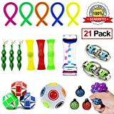 21 Pack Bundle Sensory Toys Set-Rainbow Magic Ball/Snake Cube/Liquid Motion Timer/Bike Chain/Mesh And Marble/Beans Squeeze Grape Balls/Stretchy String for Children and Adults with ADHD ADD OCD Autism