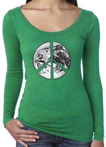 Ladies Peace Earth Long Sleeve Tee, 2XL Envy Green