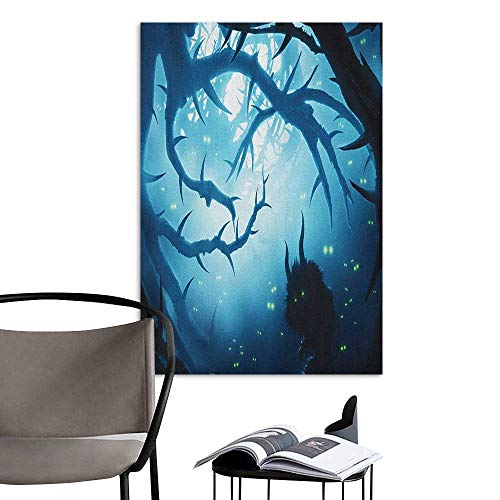 (Art Decor 3D Wall Mural Wallpaper Stickers Mystic Animal with Burning Eyes in The Dark Forest at Night Horror Halloween Illustration Navy White Mural Blackboard DIY White W20 x)