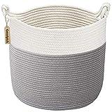 Goodpick Cotton Rope Basket with Handle for Baby Laundry Basket Toy Storage Basket Blanket Storage Nursery Basket Soft Storage Bins Natural Woven Basket, 15'' × 15'' × 14.2''