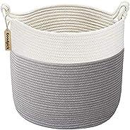 Goodpick Cotton Rope Basket with Handle for Baby Laundry Basket Toy Storage Basket Blanket Storage Nursery Bas