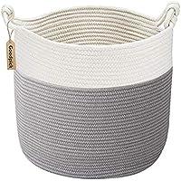 Goodpick Cotton Rope Basket with Handle for Baby Laundry Basket Toy Storage Basket Blanket Storage Nursery Basket Soft…