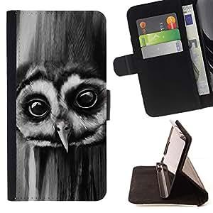Momo Phone Case / Flip Funda de Cuero Case Cover - Noctámbulo Ojos Grandes Aves Bosque Negro Blanco - LG OPTIMUS L90