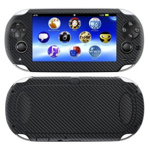 on PSP Vita BLACK Carbon Fiber skin skins decal for case cover wrap CFvitaBlack ()