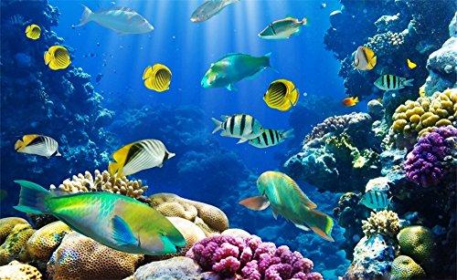 Leowefowa 5X3FT Underwater World Backdrop Aquarium Backrdrops for Photography Coral Fish Under Sea Vinyl Photo Background Tv Decoration Wallpaper Kids Adults Portraits Studiod Props