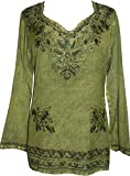 720 B Medieval Renaissance Boho Top Blouse (L, Lime Green C)