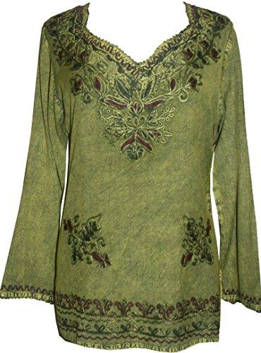 720 B Medieval Renaissance Boho Top Blouse (XL/1X, Lime Green C)]()