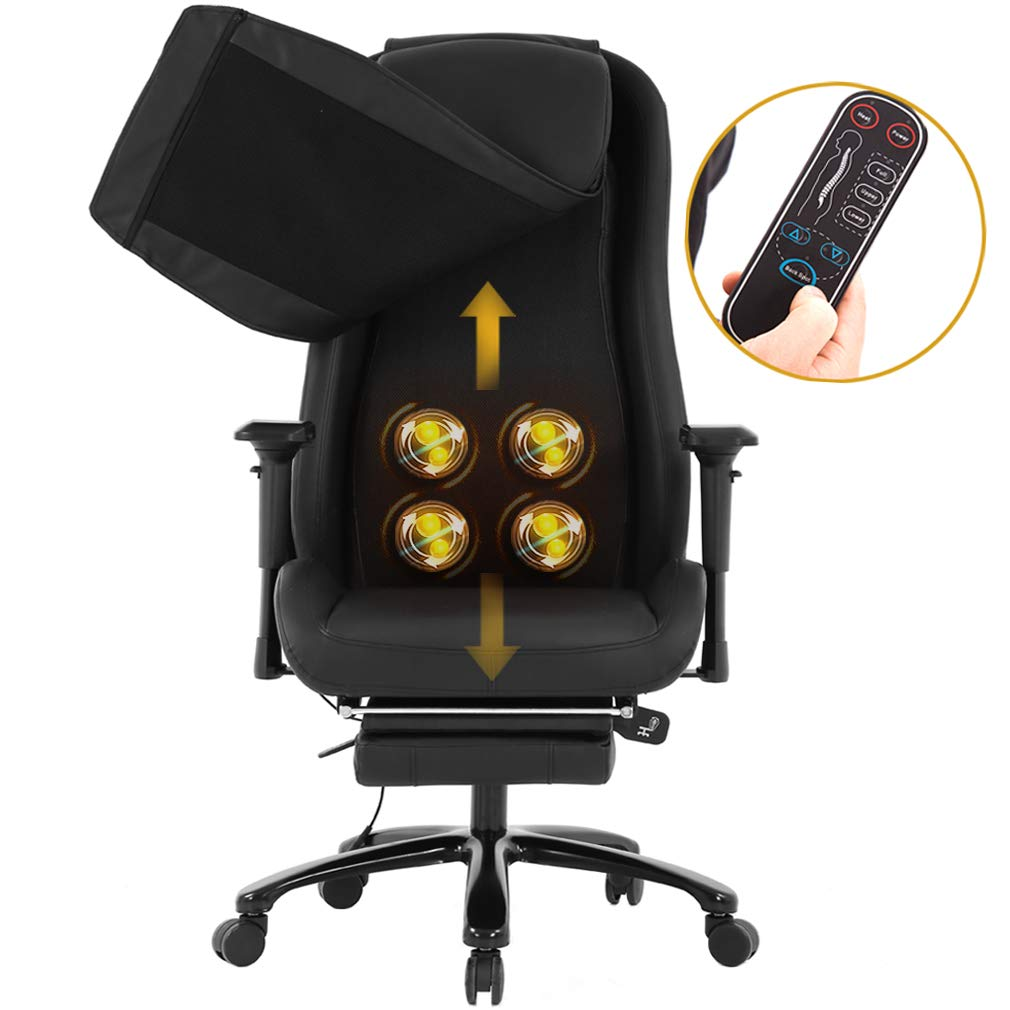 Gaming Chair Ergonomic Swivel Chair High Back Racing Chair, with Footrest, Lumbar Support and Headrest (Massage Chair Black)