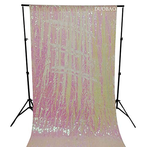 DUOBAO Sequin Backdrop Curtains 2 Panels 4FTx8FT Reversible Sequin Curtains Iridescent White and White Mermaid Sequin Curtain for Wedding Backdrop Party Photography Background by DUOBAO (Image #5)
